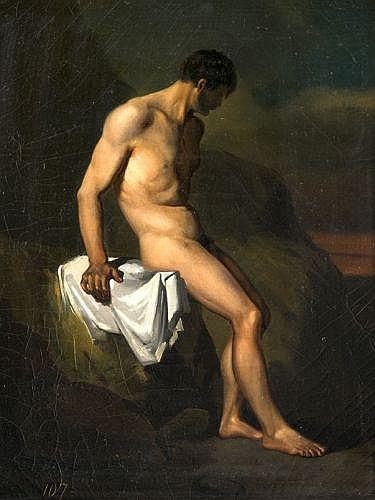 Léon Cogniet Paris, 1794 - 1880 Académie d'homme sur un rocher Huile sur toile