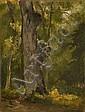 Attribué à Jules Coignet Paris, 1798 - 1860 Etude de tronc d'arbre dans un sous-bois Huile sur papier marouflé sur toile, Jules Coignet, Click for value
