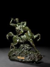 Antoine-Louis Barye Paris, 1795 - 1875 Thésée combattant le centaure Biénor Bronze à patine vert nuancé