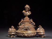 Jean-Baptiste Carpeaux Valenciennes, 1827 - Courbevoie, 1875 Encrier au Rieur napolitain Bronze à patine brun mordoré