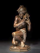 Jean-Baptiste Carpeaux Valenciennes, 1827 - Courbevoie, 1875 Pêcheur à la coquille n° 1 Bronze à patine brun clair nuancé