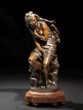 Jean-Baptiste Carpeaux Valenciennes, 1827 - Courbevoie, 1875 Suzanne surprise Bronze à patine brun mordoré