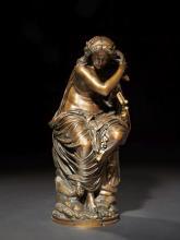 Auguste Clésinger Besançon, 1814 - Paris, 1883 Sapho au rocher de Leucade Bronze à patine irrégulière brune et dorée