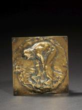 Jules Dalou Paris, 1838 - 1902 Bineur Plaque en bronze non patiné
