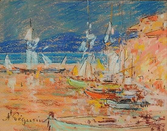 Auguste PEGURIER (1856-1936) SAINT-TROPEZ, APRES L'ORAGE, 1920 Pastel sur papier