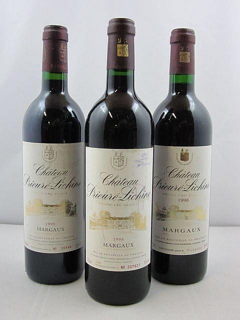 6 bouteilles  1 bt : CHÂTEAU PRIEURE LICHINE 1996 4è GC Margaux 3 bts : CHÂTEAU PRIEURE LICHINE 1998 4è GC Margaux 2 bts : CHÂTE...