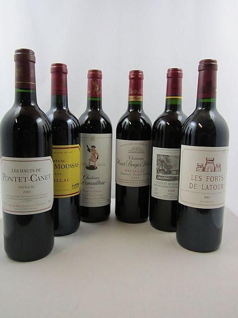 12 bouteilles  1 bt : LES FORTS DE LATOUR 2001 Pauillac (étiquette fanée) 2 bts :  CHÂTEAU DUHART MILON 2004 4è GC Pauillac 3 bt...