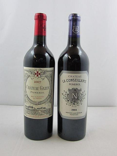4 bouteilles 2 bts : CHÂTEAU GAZIN 2007 Pomerol (dont 1 étiquette léger déchirée)