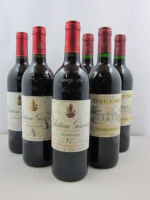6 bouteilles 3 bts : CHÂTEAU GISCOURS 1998 3è GC Margaux