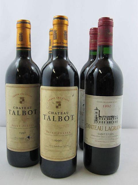 5 bouteilles 3 bts : CHÂTEAU TALBOT 1990 4è GC Saint Julien (étiquettes sales)