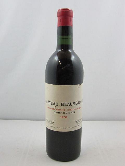 1 bouteille CHÂTEAU BEAUSEJOUR 1958 1er GCC (B) Saint Emilion (étiquette fanée)