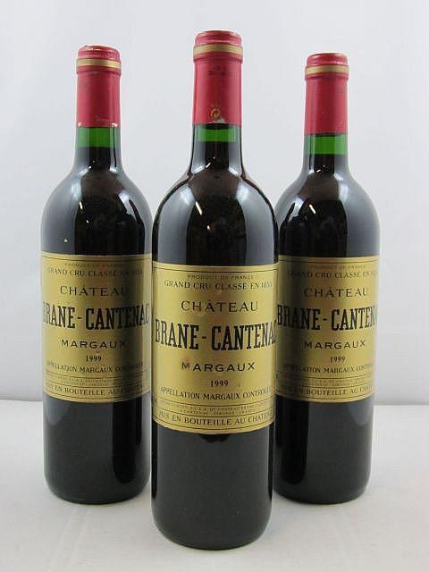 3 bouteilles CHÂTEAU BRANE CANTENAC 1999 2è GC Margaux