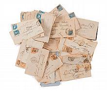 France - Ensemble d'enveloppes affranchies de timbres-poste de la période 1870-80.