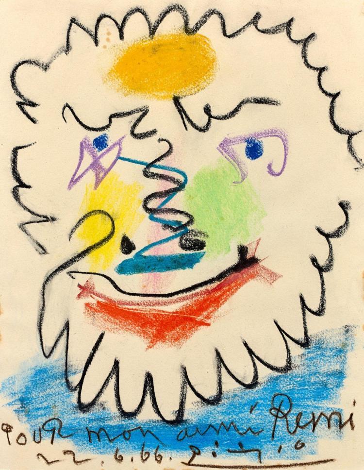 Pablo PICASSO 1881 - 1973 Tête de faune - 1966 Crayolor on paper