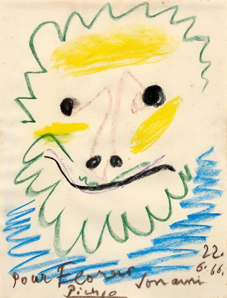 Pablo PICASSO 1881 - 1973 Tête de faune - 1966 Crayolor sur papier