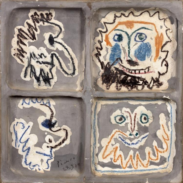 Pablo PICASSO 1881 - 1973 Quatre têtes - 1964 Peinture et dessin au pastel céramique sous couverte sur carreau en céramique