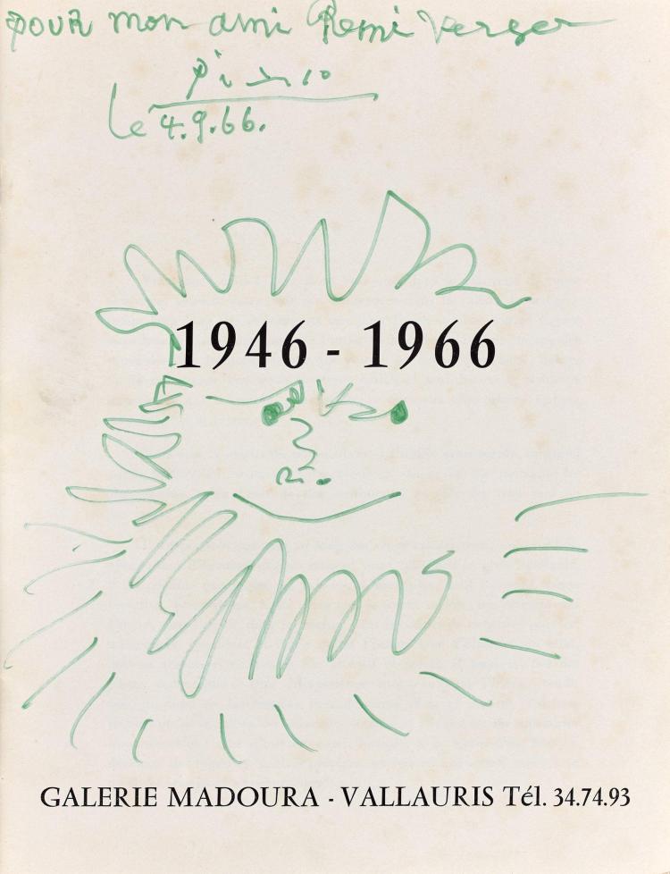 Pablo PICASSO 1881 - 1973 Tête de barbu - 1966 Feutre sur papier, page de faux titre du catalogue de l'exposition