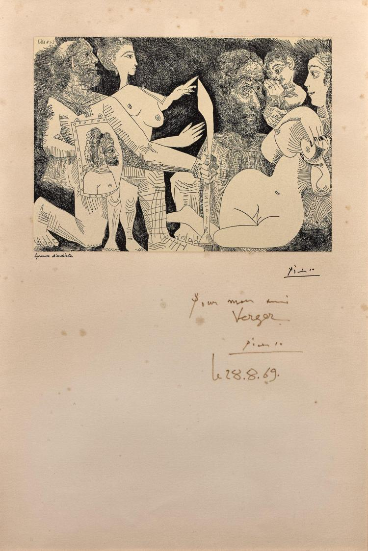 d'après Pablo PICASSO 1881 - 1973 Scène mythologique : peut être la convoitise d'Agamemnon pour Briseis - 1968