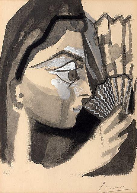 d'après Pablo PICASSO 1881 - 1973 Femme de profil à l'éventail (Carmen des Carmen) - 1964