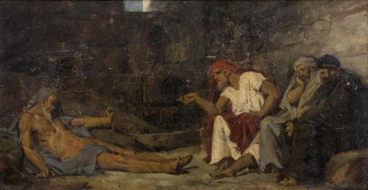 Jean Lecomte du Nouy Paris, 1842 - 1923 Job et ses amis Huile sur panneau