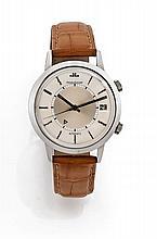 JAEGER LECOULTRE MEMOVOX vers 1960 Superbe montre bracelet réveil en acier. Boîtier rond, fond vissé. Cadran deux tons argent av...
