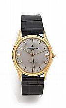 VACHERON CONSTANTIN pour CARTIER N° 347730, 1955 Rare et belle montre bracelet en or. Boîtier rond, fond vissé. Cadran argent avec...