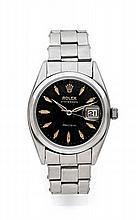 ROLEX OYSTER DATE PRECISION réf: 6494 vers 1976 Montre bracelet en acier. Boîtier rond. Couronne et fond vissés. Cadran noir ave...