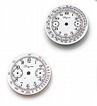 Lot de 2 cadrans LONGINES en émail pour chronographes bracelets. Set of 2 enamel dials for LONGINES chronograph