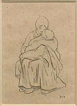 Jean-François Millet Gruchy, 1814 - Barbizon, 1875 Mère et son enfant, étude pour 'Le Nourrisson' Crayon noir