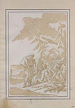Giovanni Battista Raggi Bergame, 1712 - 1794 Halte de soldats dans un paysage Plume et encre brune, lavis brun sur trait de crayon
