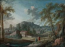 Pierre-Antoine Patel Paris, 1648 - 1707 Deux paysages animés de personnages Paire de dessins à la gouache sur vélin