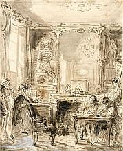 Gabriel de Saint-Aubin Paris, 1724 - 1780 La saisie par huissier Plume et encre noire, lavis gris et brun, rehauts de gouache blanch...