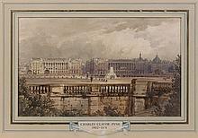 Charles-Claude Pyne (?), 1802 - Guildford, 1878 Vue de la place de la Concorde vers 1835 avec le piédestal de l'obélisque Aquarelle...