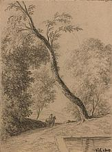 Pierre-Henri de Valenciennes Toulouse, 1750 - Paris, 1819 Cavalier dans un paysage boisé Crayon noir et estompe