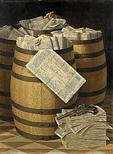 Victor Dubreuil Ayron, 1842 - (?), après 1900 Trompe-l'oeil aux billets de mille francs et au revolver Huile sur toile (Toile d'orig.