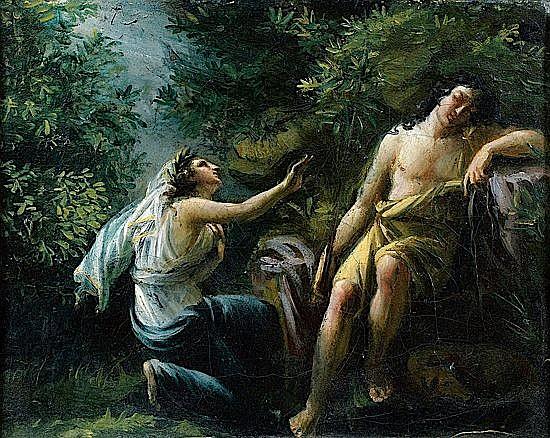 Attribué à Jérôme-Martin LANGLOIS (Paris, 1779 - 1838) DIANE ET ENDYMION Sur sa toile d'origine