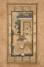 QUATRE HOMMES SUR UNE TERRASSE, IRAN, ART SAFAVIDE, 17ÈME SIÈCLE