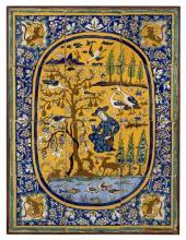 PANNEAU DE REVÊTEMENT AU PERSONNAGE SOUS UN ARBRE, IRAN, ART POST-SAFAVIDE, 18ÈME SIÈCLE