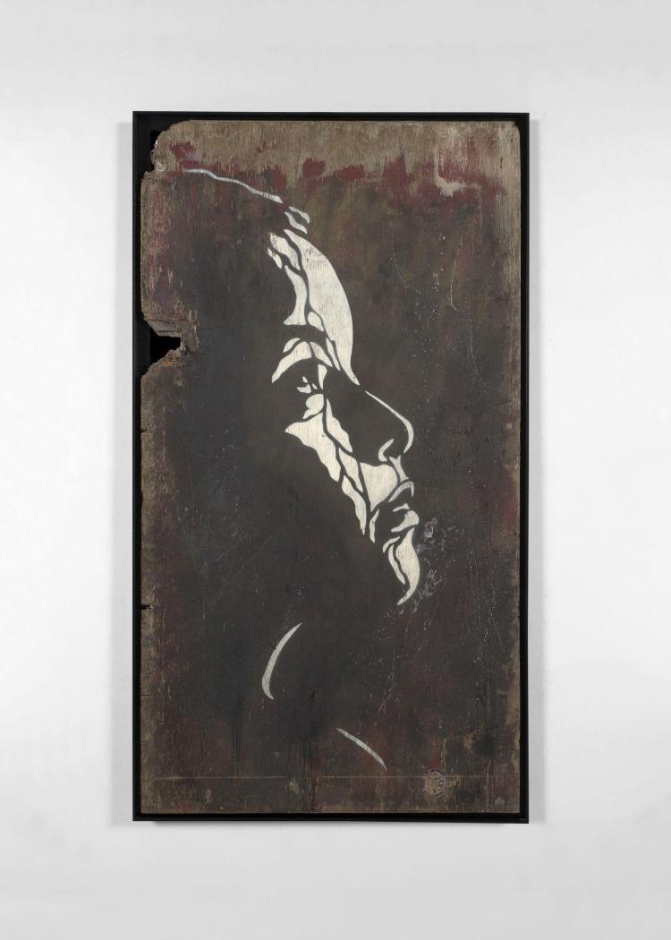C215 Français - Né en 1973 Sans titre, profil Pochoir et peinture aérosol sur bois