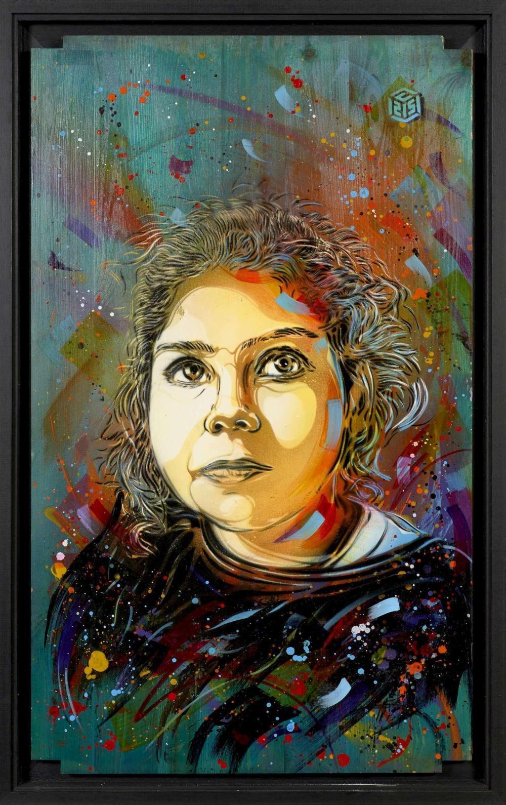 ¤ C215 Français - Né en 1973 Portrait de jeune fille - 2013 Pochoir, peinture aérosol et acrylique sur bois