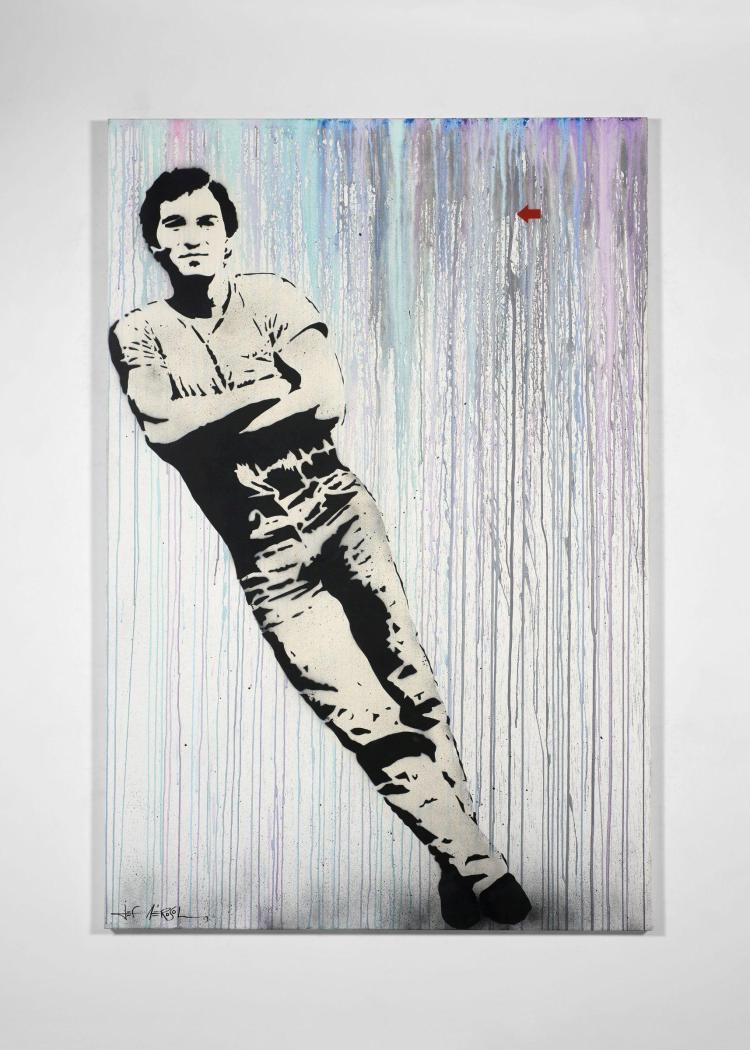 ¤ Jef AEROSOL Français - Né en 1957 Bruce - 2013 Pochoir, peinture aérosol et acrylique sur toile