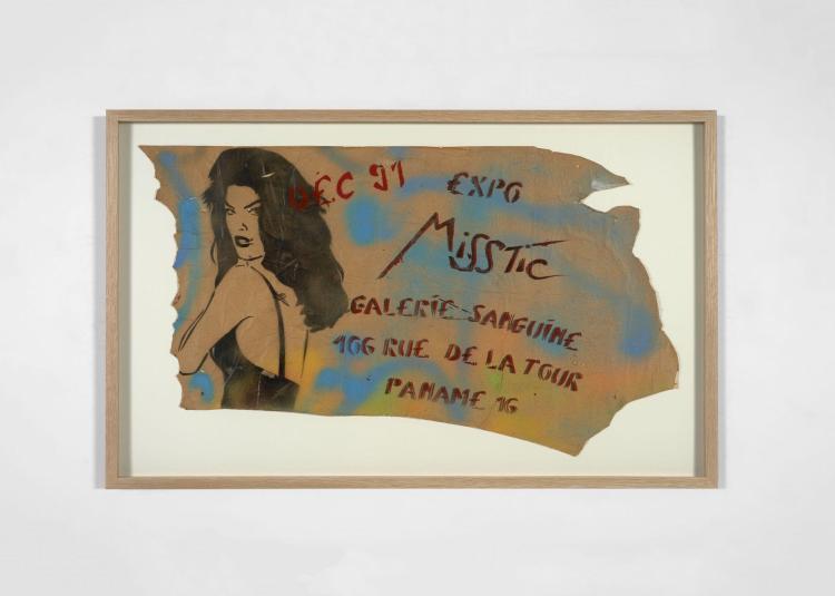 MISS.TIC Française - Née en 1956 Expo Miss.Tic Galerie Sanguine...Paname 16 - 1991 Pochoir et peinture aérosol sur papier monté sur...