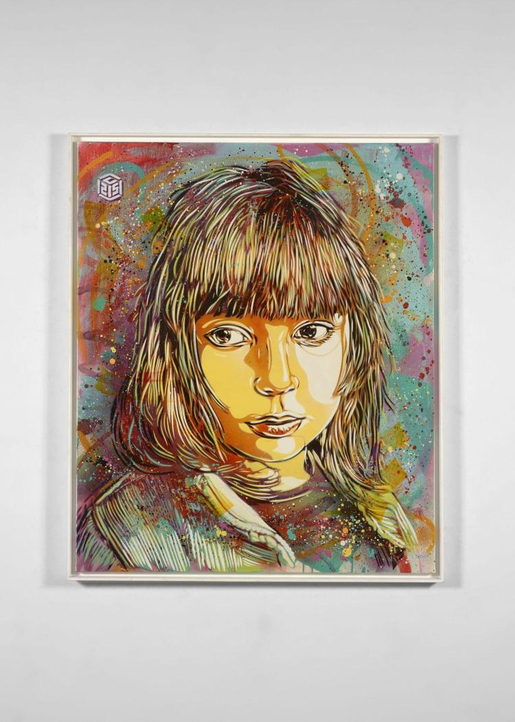 C215 Français - Né en 1973 Nina - 2014 Pochoir, peinture aérosol et acrylique sur toile