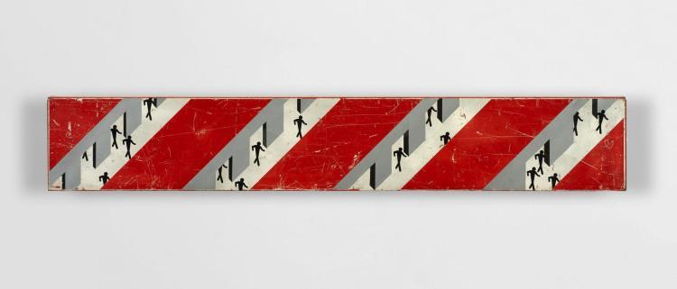 CLET ABRAHAM Français - Né en 1966 Couloirs métaphysiques - 2013 Adhésifs et peinture aérosol sur panneau de signalisation