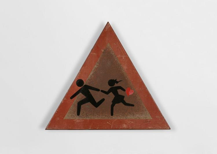 CLET ABRAHAM Français - Né en 1966 Un autre Eden - 2014 Peinture aérosol sur panneau de signalisation