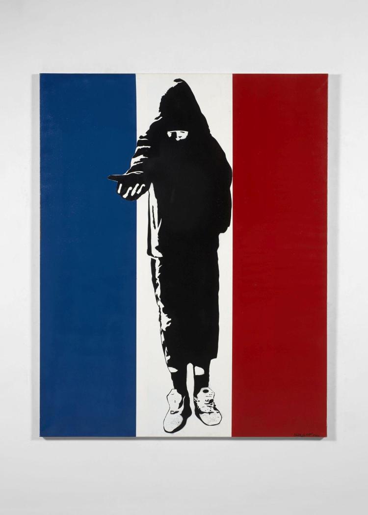 BLEK LE RAT Français - Né en 1951 Homeless in Paris - 2006 Pochoir et peinture aérosol sur toile