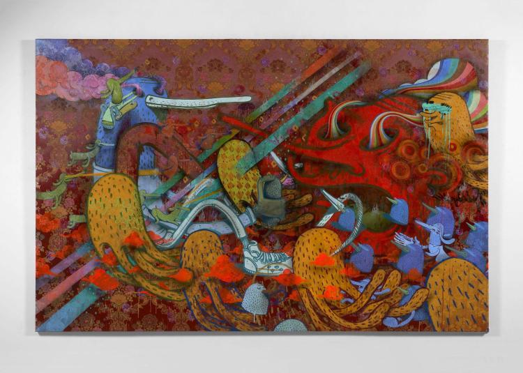 ALEXÖNE DIZAC Français - Né en 1976 Cercles à paillettes - 2011 Acrylique, craie grasse, marqueurs et paillettes sur toile brodée