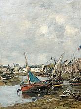 Eugène BOUDIN (Honfleur, 1824 - Deauville,1898) LE PORT DE TROUVILLE, MAREE BASSE, circa 1883-1888 Huile sur panneau
