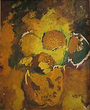 Georges BRAQUE (Argenteuil, 1882 - Paris, 1963) POT DE FLEURS, circa 1960 Huile sur toile