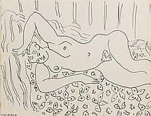Henri MATISSE (Cateau-Cambrésis,1869-Nice,1954) DINA A LA COUVERTURE FLEURIE, 1941 Dessin à l'encre sur papier